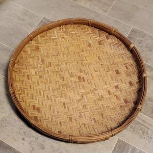 EUC XL Wicker Shallow Boho Basket Decor